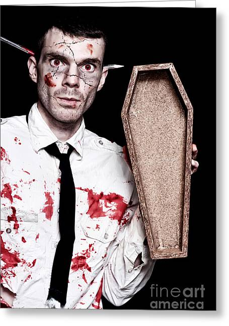 Dead Zombie Business Man Holding Funeral Coffin Greeting Card by Jorgo Photography - Wall Art Gallery