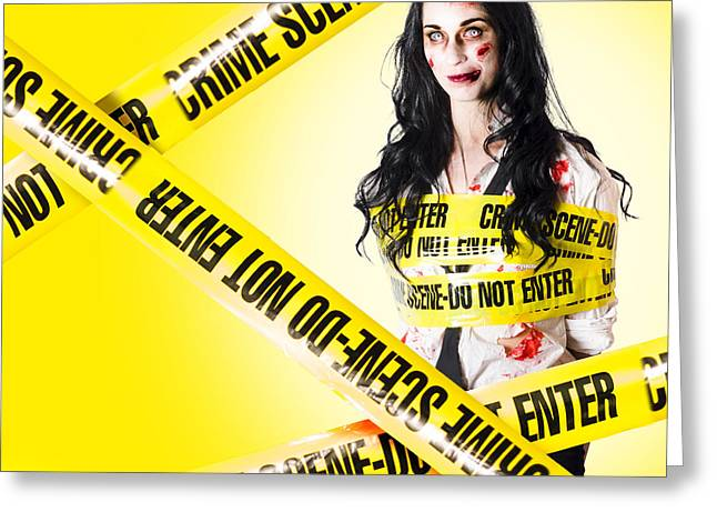 Dead Zombie Wrapped In Tape At Crime Scene Greeting Card