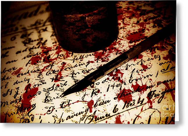 Death Certificate Signed In Blood Greeting Card by Jorgo Photography - Wall Art Gallery