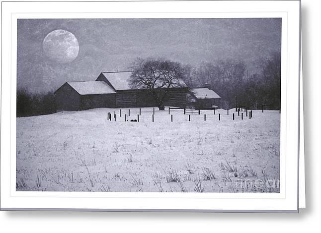 December Moonrise Farmstead Greeting Card