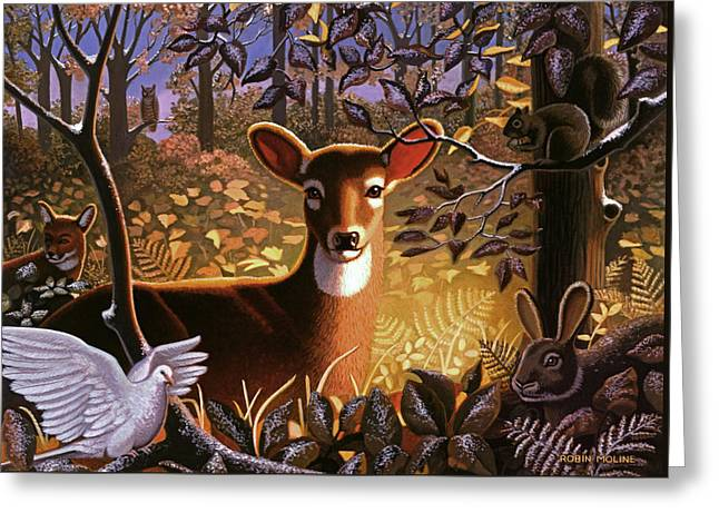 Deer In The Forest Greeting Card by Robin Moline