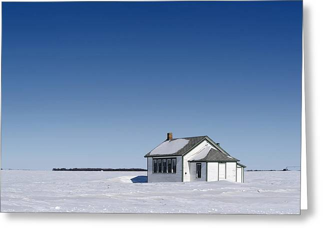 Defunct Country School Building In Winter Greeting Card