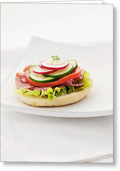 Delicious Ham Cheese And Salami Sandwich Greeting Card by Mythja  Photography