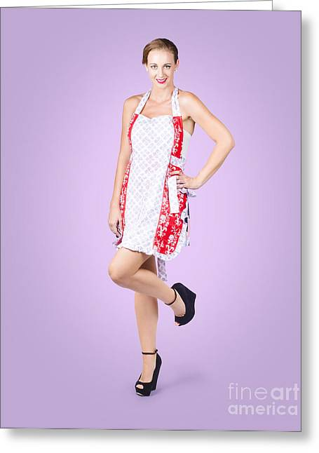 Delicious Pin-up Housewife Posing In Cooking Apron Greeting Card