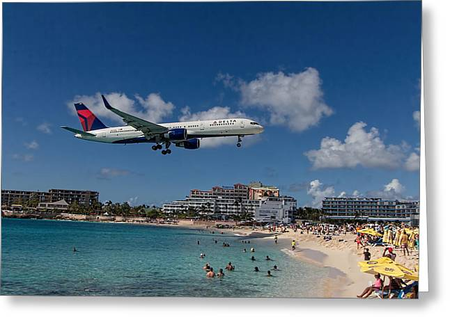 Delta Air Lines Landing At St Maarten Greeting Card by David Gleeson