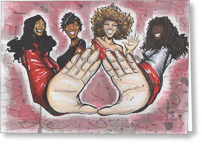 Delta Sigma Theta Sorority Inc Greeting Card by Tu-Kwon Thomas