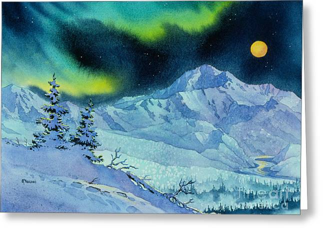 Denali Night Greeting Card by Teresa Ascone
