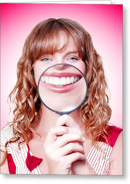 Dentist Showing White Teeth In A Dental Checkup Greeting Card by Jorgo Photography - Wall Art Gallery
