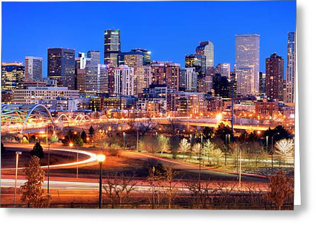 Greeting Card featuring the photograph Denver Skyline At Dusk Evening Color Evening Panorama Broncos Colorado  by Jon Holiday