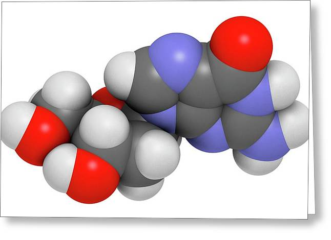 Deoxyguanosine Nucleoside Molecule Greeting Card by Molekuul