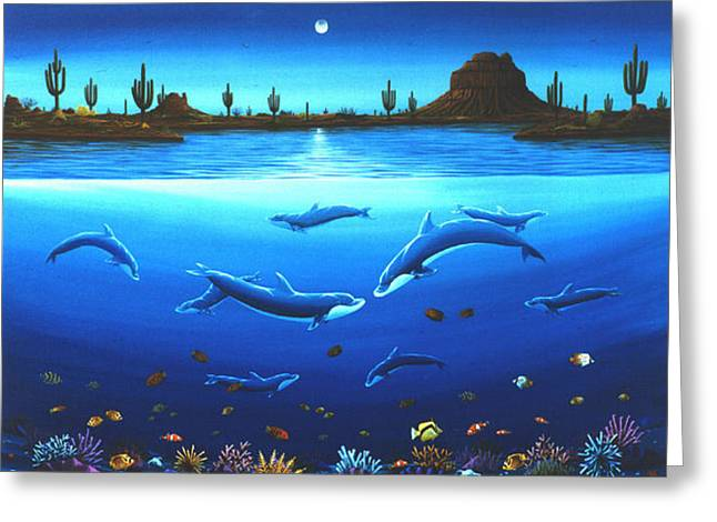 Desert Dolphins Greeting Card by Lance Headlee