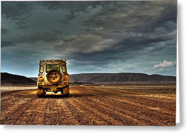 Land Rover Defender On Dirt Road Dusk Greeting Card