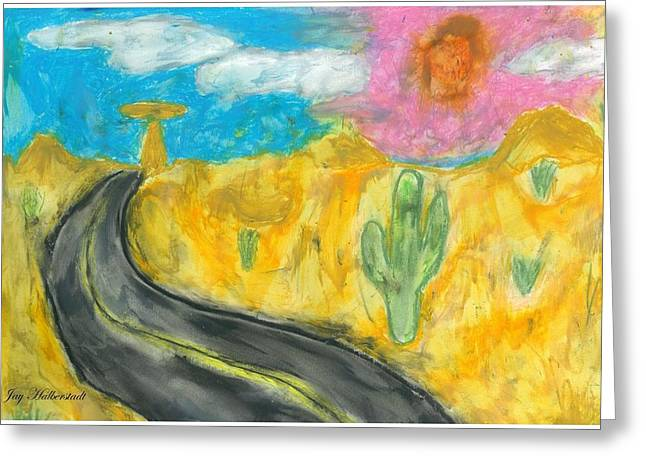 Greeting Card featuring the pastel Desert Road by Artists With Autism Inc