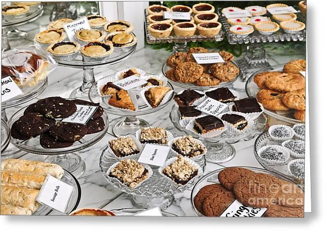 Desserts In Bakery Window Greeting Card by Elena Elisseeva