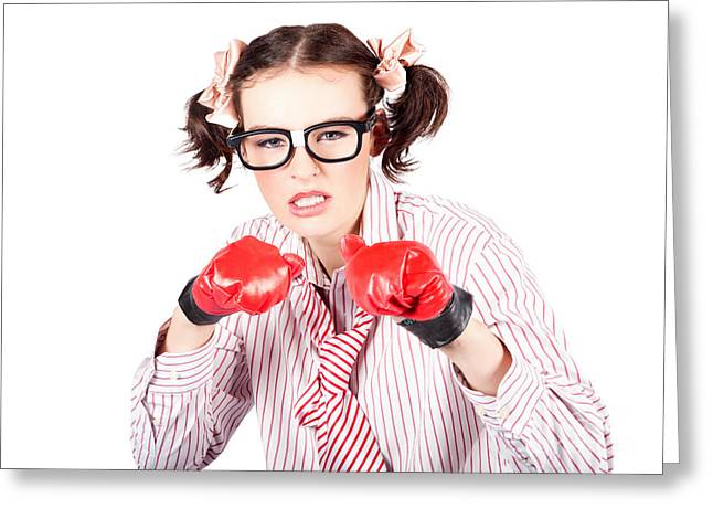 Determined Young Woman In Boxing Gloves Greeting Card by Jorgo Photography - Wall Art Gallery