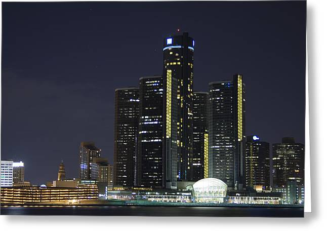 Detroit Skyline At Night Greeting Card