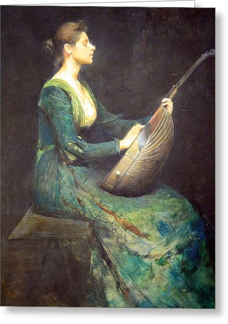 Dewing's Lady With A Lute Greeting Card by Cora Wandel