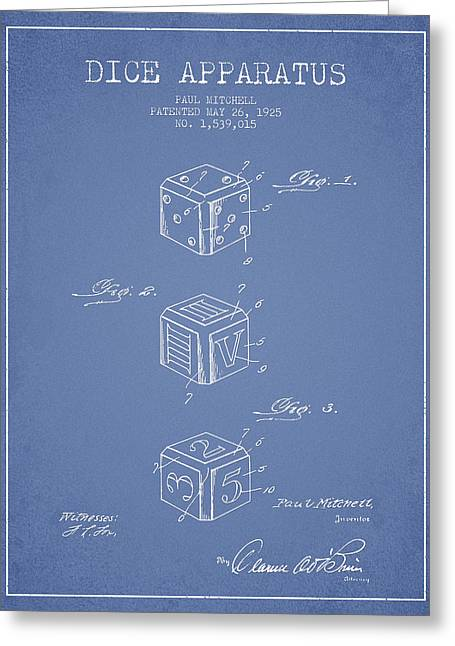 Dice Apparatus Patent From 1925 - Green Greeting Card