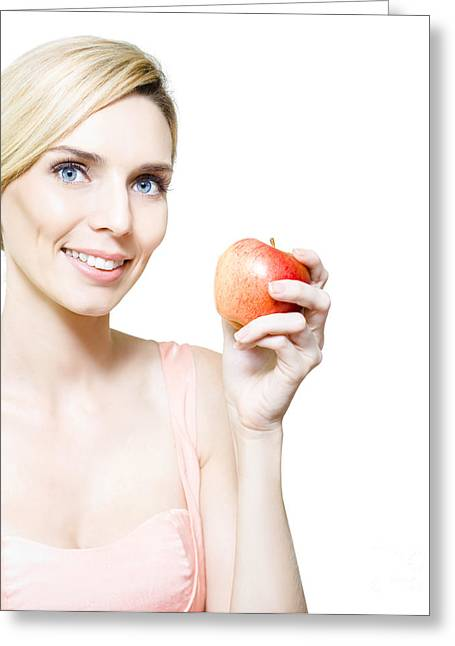 Dietician Or Nutritionist Holding Fruit Greeting Card