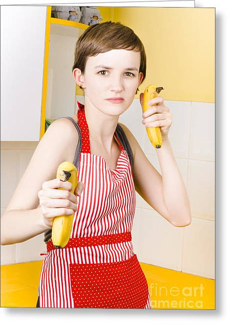 Dietician Shooting Banana Guns In Kitchen Greeting Card