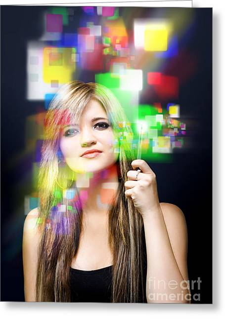 Digital Future Of Business Communication Greeting Card by Jorgo Photography - Wall Art Gallery