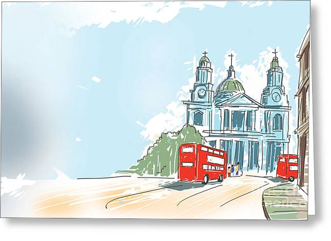 Digital Illustration St Paul Cathedral London Uk Greeting Card by Jorgo Photography - Wall Art Gallery