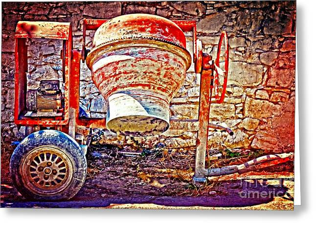 Digital Painting Of An Old Rusty Cement Mixer Greeting Card by Ken Biggs