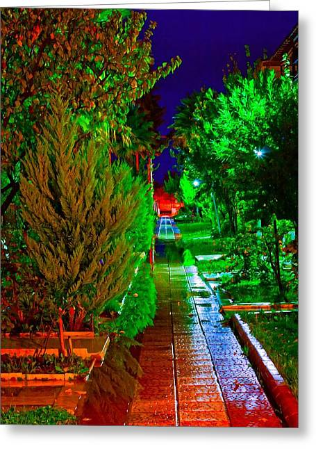 Digital Painting Of Colouful Gardens At Nightime Greeting Card