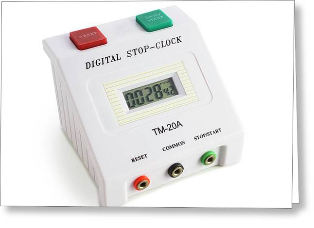 Digital Stopclock Greeting Card by Science Photo Library