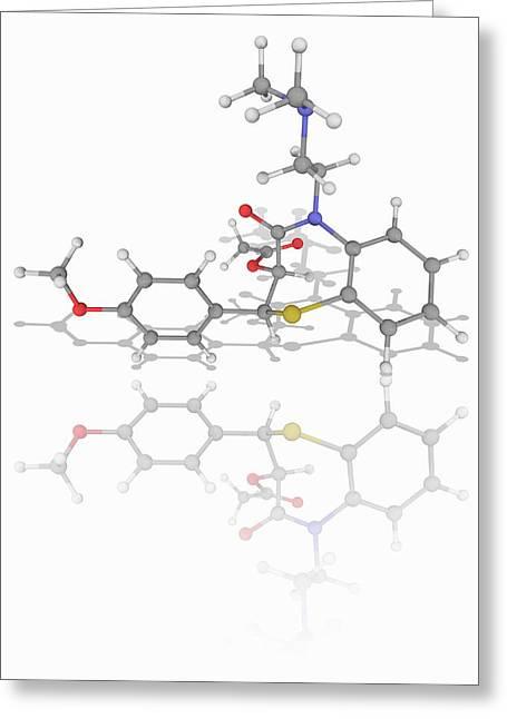 Diltiazem Drug Molecule Greeting Card by Laguna Design/science Photo Library