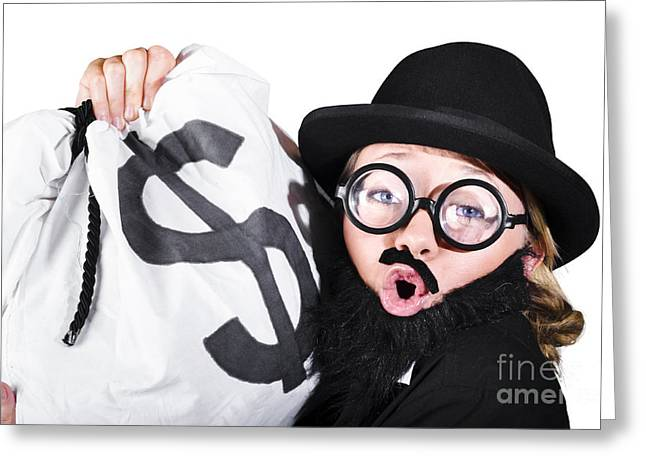 Disguised Woman Holding Moneybag Greeting Card