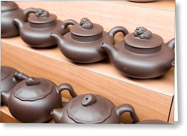 Display Of Chinese Teapots, Chinatown Greeting Card
