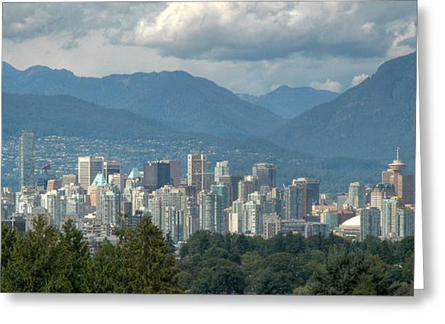 Distant View Of Vancouver British Columbia. Greeting Card