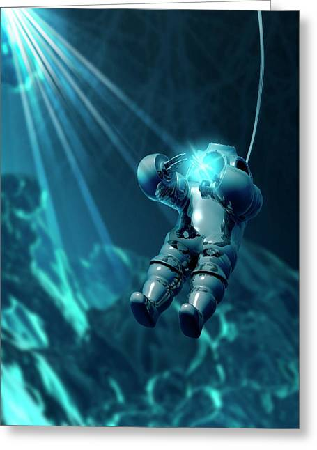 Diver Wearing Atmospheric Diving Suit Greeting Card by Victor Habbick Visions