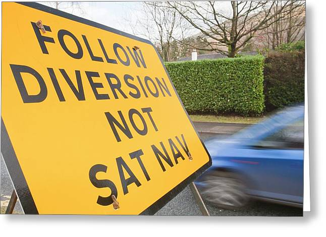 Diversion Road Sign Greeting Card by Ashley Cooper
