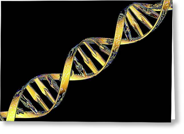 Dna Double Helix Reflecting Microarray Greeting Card by Pasieka