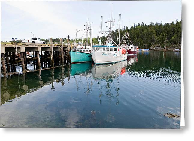 Dock With Fishing Boats At High Tide Greeting Card by Andrew J. Martinez
