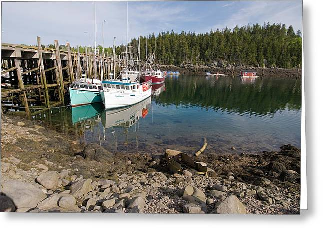 Dock With Fishing Boats At Low Tide Greeting Card by Andrew J. Martinez