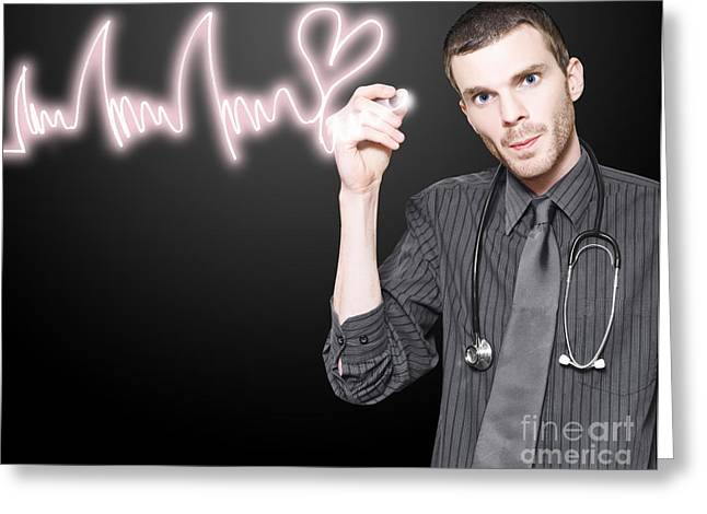 Doctor Drawing Cardiology Heart Beats Ecg Greeting Card