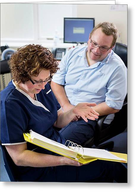 Doctor Talking With Nurse Greeting Card