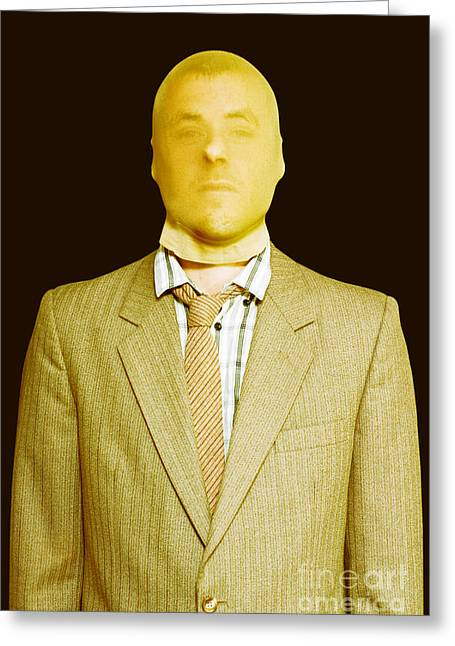 Dodgy Business Person In Stocking Mask Greeting Card by Jorgo Photography - Wall Art Gallery