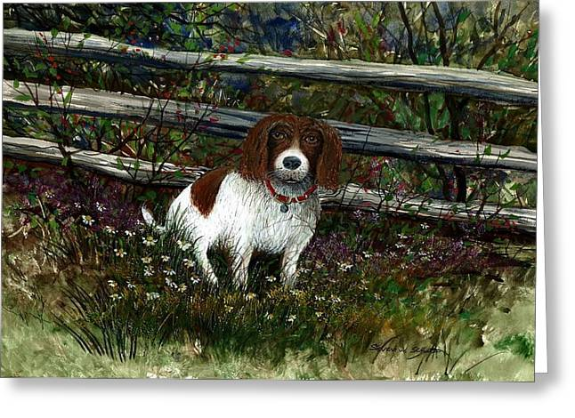 Dog Fence Greeting Card by Steven Schultz