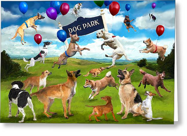 Dog Park Party Greeting Card