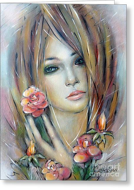 Doll With Roses 010111 Greeting Card by Selena Boron