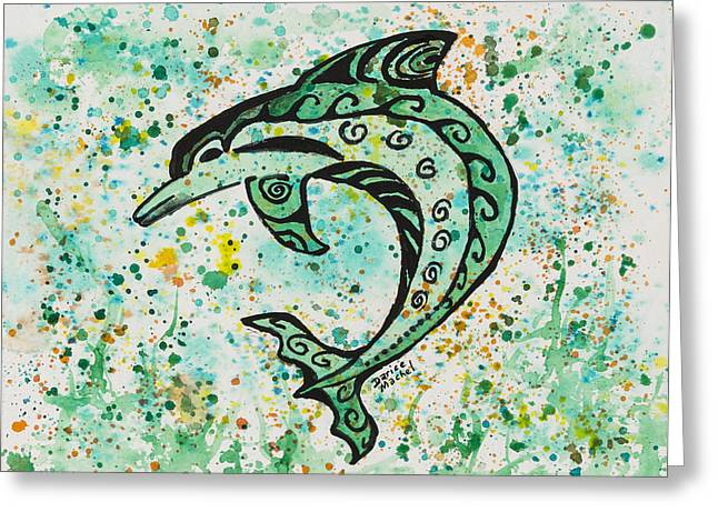 Greeting Card featuring the painting Dolphin 2 by Darice Machel McGuire