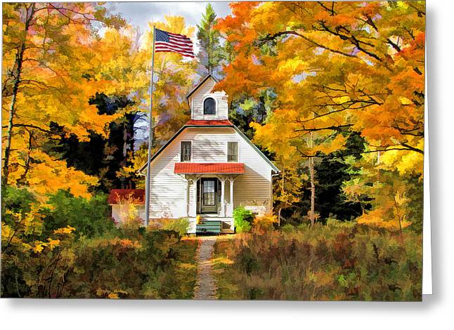 Door County Baileys Harbor Upper Range Lighthouse Greeting Card by Christopher Arndt