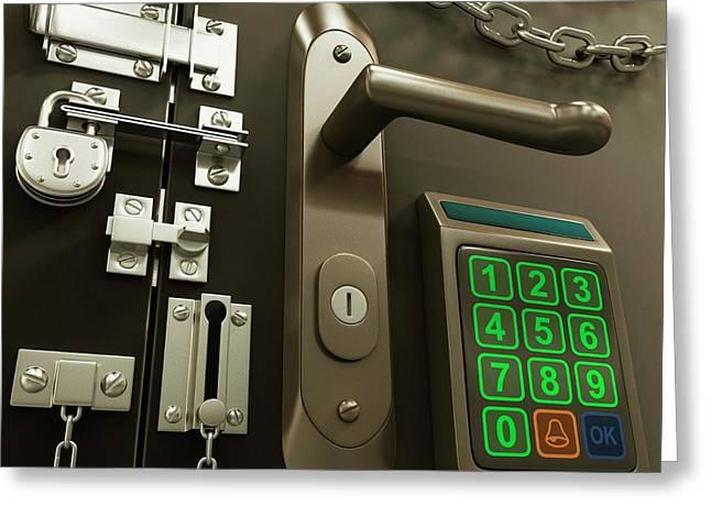 Door With Various Locks Greeting Card