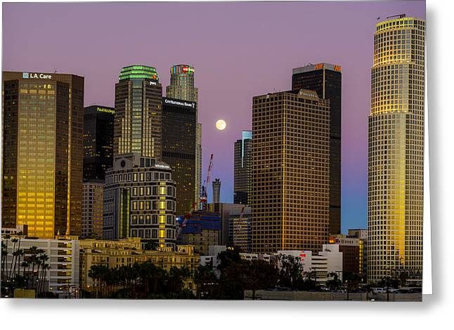 Downtown Los Angeles Moonrise Greeting Card