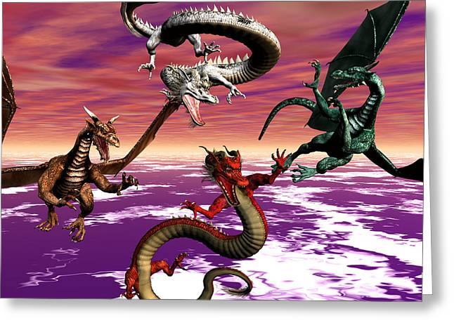 Dragon Attack Greeting Card by Michele Wilson