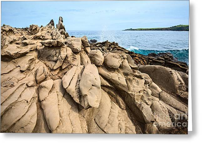 Dramatic Lava Rock Formation Called The Dragon's Teeth In Maui. Greeting Card
